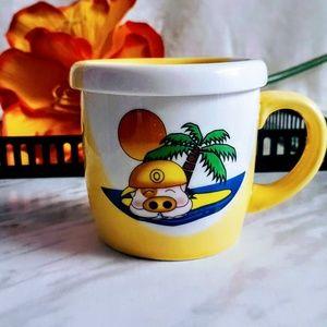 #H8 Island Pig Ceramic Mug With Lid